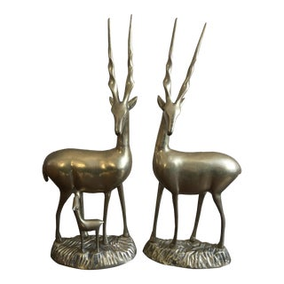 Mid-Century Brass Ibexes Figures - A Pair For Sale