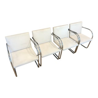 Knoll Brno Tubular Polished Stainless Steel Chairs - Set of 4 For Sale