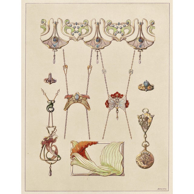 1910s Art Nouveau Jewelry Design Lithograph For Sale - Image 5 of 5