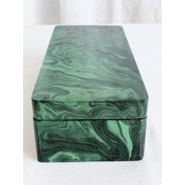 Gemstone Faux Malachite Trinket Box For Sale - Image 7 of 10