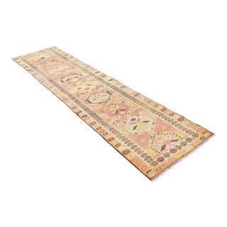 Distressed Hand-Knotted Turkish Oushak Runner-2′8″ × 11′3″ For Sale