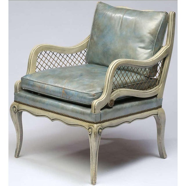 Pair of 1940s Carved and Lacquered Lounge Chairs with Blue Leather Upholstery - Image 2 of 7