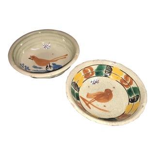 Antique Mexican Ceramic Pozole Bowls Hand Painted Birds Design - a Pair For Sale