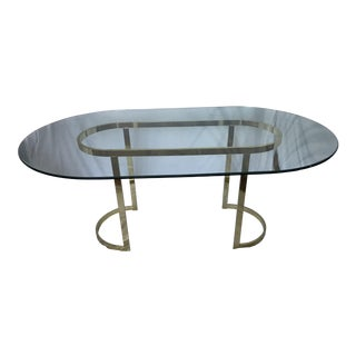 Design Institute of America Vintage Oval Brass and Glass Table in the Style of Milo Baughman