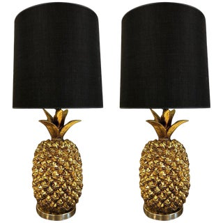 Pair Hollywood Regency Gold Pineapple Lamps For Sale