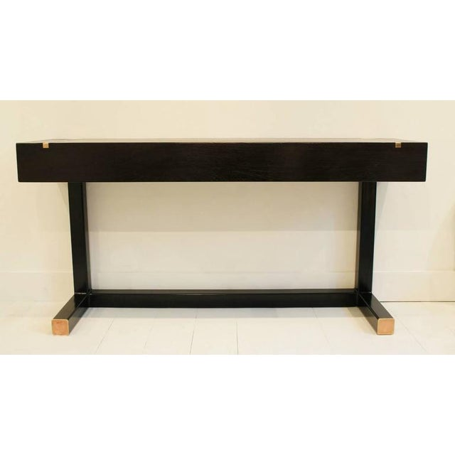 Brown Contemporary Console Table, Using a J. Wabbes 1960's Wenge End-Grain Wood Top For Sale - Image 8 of 8