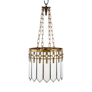 Neo Gothic White Glass and Brass Brushed Chandelier For Sale