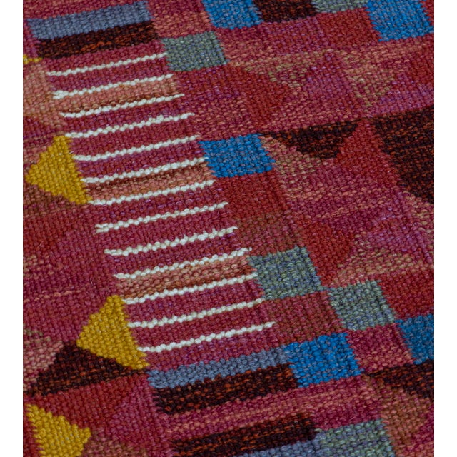 2000 - 2009 Hand-Woven Swedish Style Wool Flat-Weave Rug For Sale - Image 5 of 7