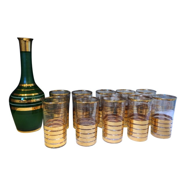 Holiday Christmas Bar Set with Culver Gold Glasses - Image 1 of 9