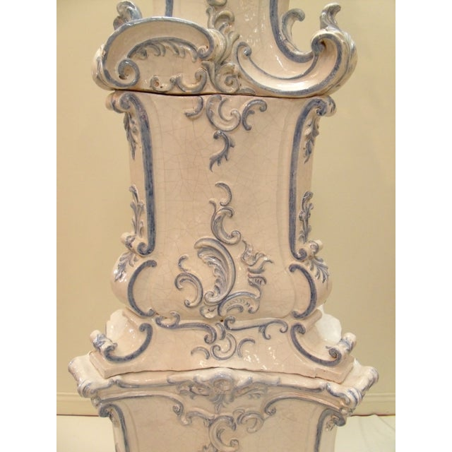 1990s Italian Ceramic Delft Terracotta Parlor Stove For Sale - Image 5 of 13