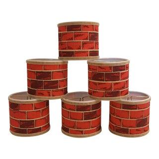 Barkcloth Brick Fabric Lampshades, S/6 For Sale