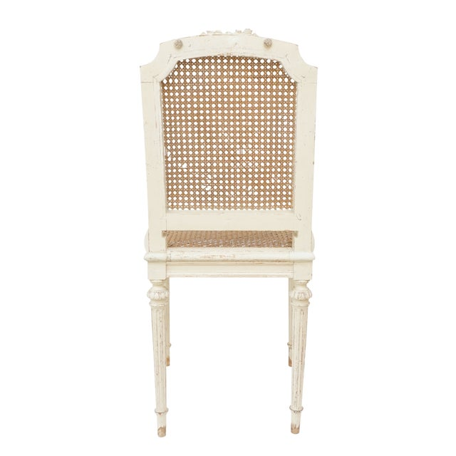 Louis XVI Style Cane Chairs With Carved Garland Detail - a Pair For Sale - Image 4 of 10