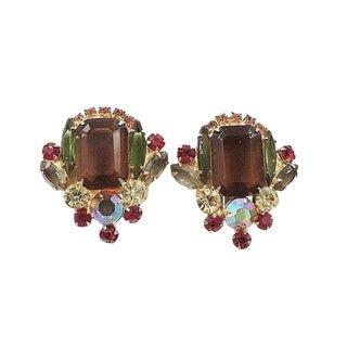 1960s Delizza Elster Juliana Book Piece Rhinestone Earrings For Sale