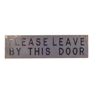 Vintage Brass Plated Sign C.1960-1970 For Sale