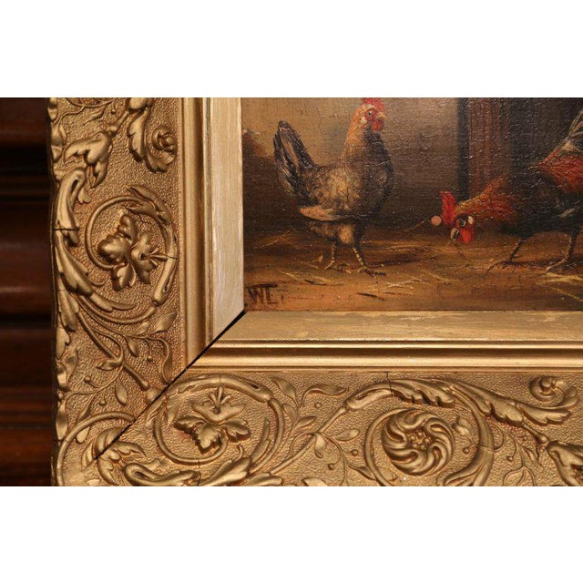 Gold Pair of 19th Century French Oil Chicken Paintings on Board in Carved Frames Circa 1880 For Sale - Image 8 of 10