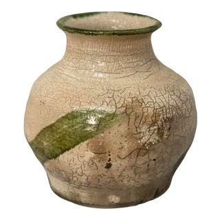 Organic Form Modernist Crackle Vase Vessel For Sale