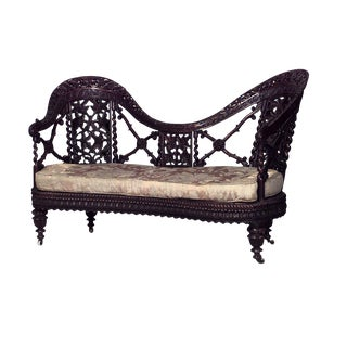 Mid 19th Century Asian Burmese Style Carved Filigree Rosewood Settee For Sale