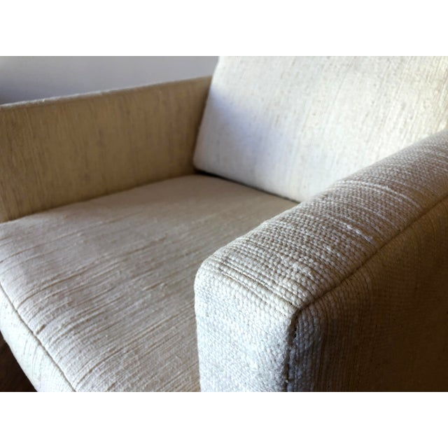 Scandinavian Vintage Modern Box / Club Chair With Boucle Upholstery and Walnut Base For Sale - Image 10 of 12