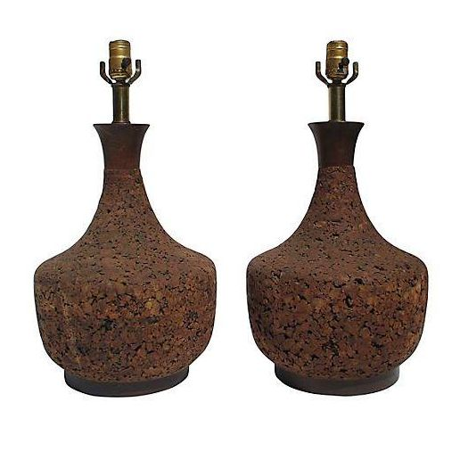 Large Round Cork Lamps - A Pair - Image 1 of 4