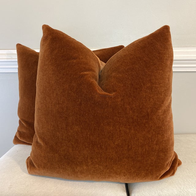 "Orange Mohair Velvet in Spice 22"" Pillows-A Pair For Sale - Image 8 of 8"