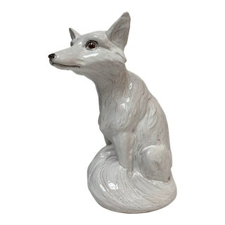 Italian Large White Terra Cotta Arctic Fox For Sale