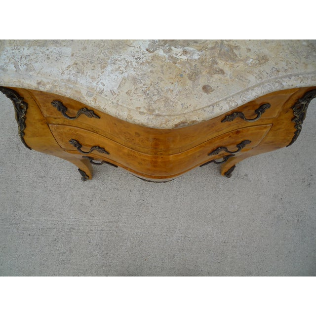 French Louis XV-Styled Travertine Top Commode Chest For Sale - Image 3 of 6