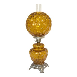 Vintage Amber Quilted Hurricane Table Lamp