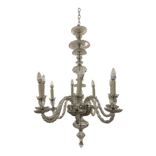 Mid 20th Century French Twist Glass Eight Arm Chandelier For Sale