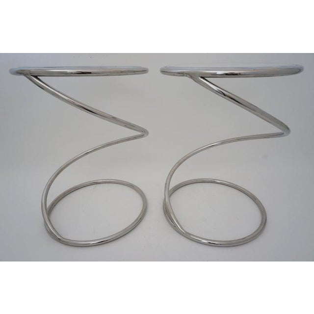 """Pace Vintage Leon Rosen for Pace """"Spring"""" Coil Tables, Side or Drink, Nickel Plated With Lucite Tops - a Pair For Sale - Image 4 of 12"""