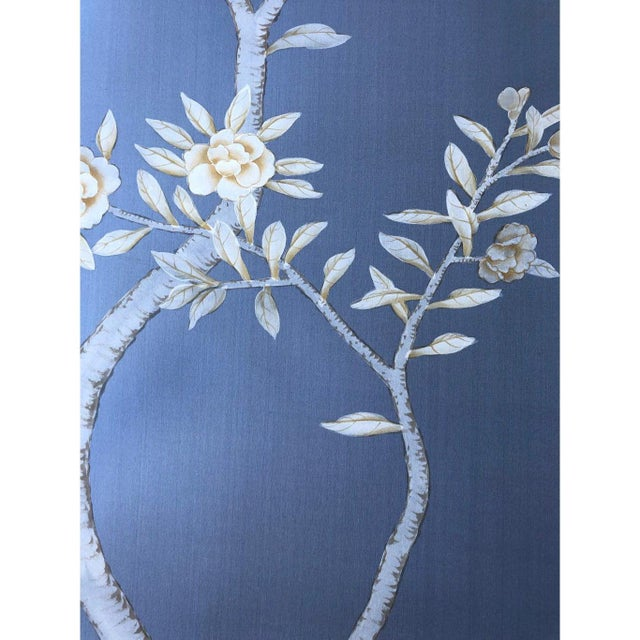 """Jardins en Fleur """"Inverness"""" Chinoiserie Hand-Painted Silk Diptych by Simon Paul Scott in Burnished Silver Frame - a Pair For Sale - Image 4 of 8"""