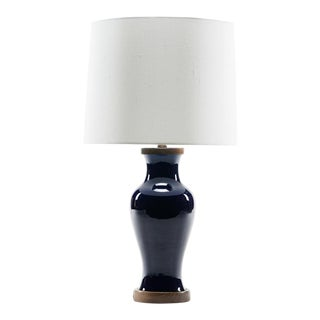 Lawrence & Scott Gabrielle Baluster Porcelain Lamp in Cobalt With Hand Turned Walnut Base For Sale