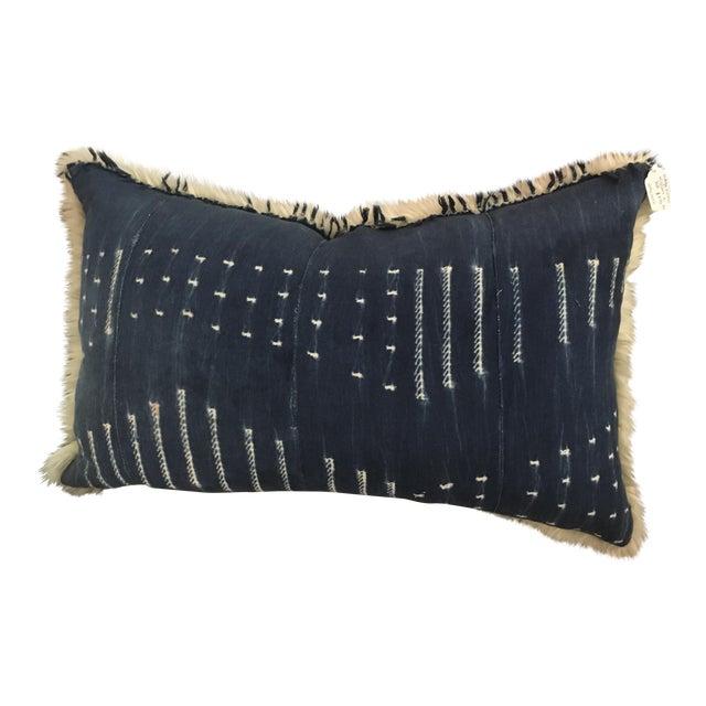 Boho Style Indigo & Fur Pillow - Image 1 of 4