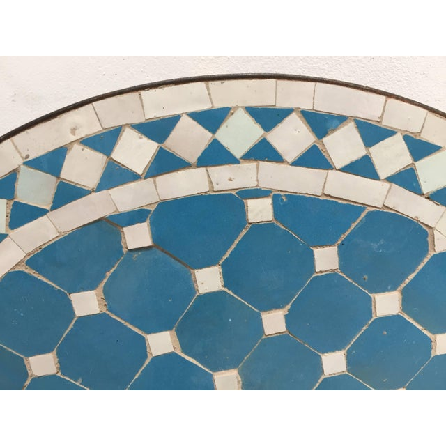 Turquoise Moroccan Mosaic Outdoor Blue Tile Side Table on Low Iron Base For Sale - Image 8 of 13