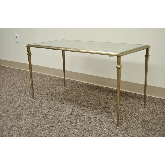 Neoclassical Style Gilt Metal Silver Leaf Mirror Top Coffee Table - Image 3 of 11