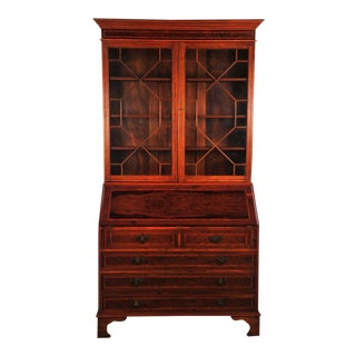 19th Century Empire Mahogany Drop Leaf Secretary Desk With Hutch
