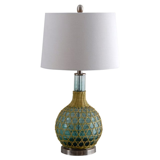 This pair of 3-Way Green Glass Table Lamps offers a traditional style featuring a gourd body with green finish and...