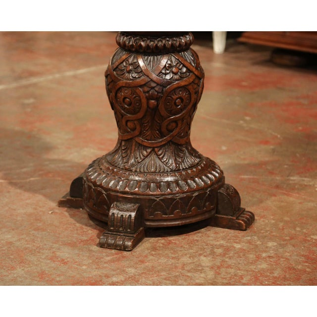 19th Century French Louis XIII Carved Walnut Pedestal Table From Normandy For Sale In Dallas - Image 6 of 9