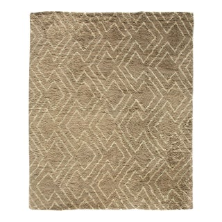 Stark Traditional Moroccan Brown Wool Rug - 10′ × 14'