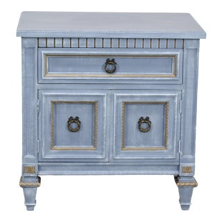 Vintage Gray Neoclassical Style Nightstand For Sale