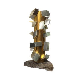 Gilt White Gold Cubist Sculpture by MarGian Studio For Sale