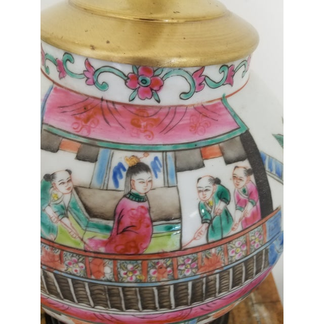 English Large Chinese Hand Painted Porcelain Temple Jars Mounted Table Lamps - a Pair For Sale - Image 3 of 7