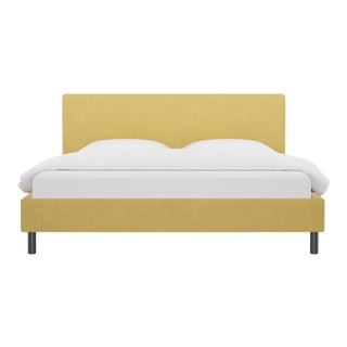 King Tailored Platform Bed in Canary Velvet For Sale