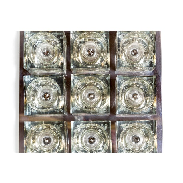Silver Lightolier Glass Blocks 9-Light Flush Mount For Sale - Image 8 of 13