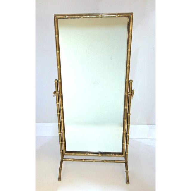 1950s French Bagues Bronze Bamboo Cheval Floor Mirror For Sale In Palm Springs - Image 6 of 11
