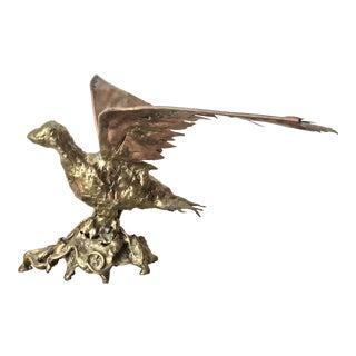 1970s Brutalist Copper & Bronze Flying Bird Sculpture