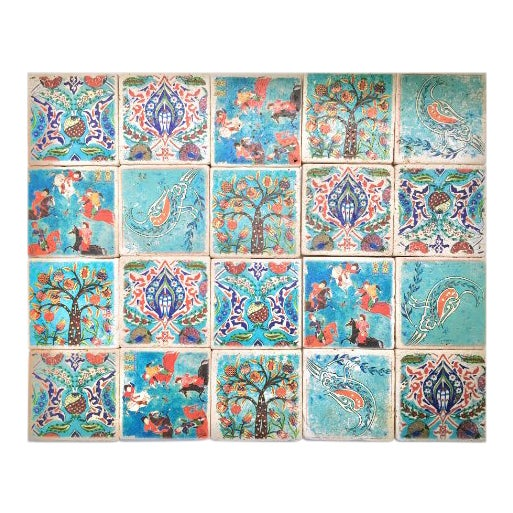 Stone Turkish Tiles - Set of 20 For Sale