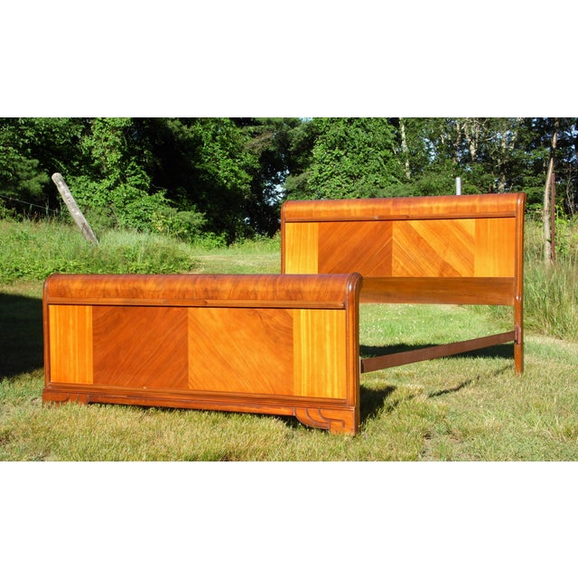 Vintage Art Deco Walnut Full Double Waterfall Bed For Sale - Image 9 of 12