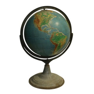 Very Unusual Early 20th Century World Globe on Metal Stand, Circa 1940-1950s For Sale
