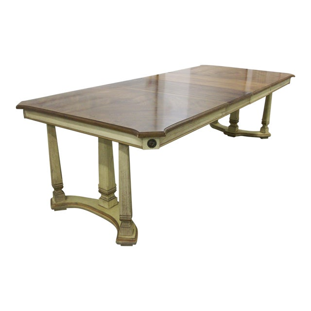 "1970s French Provincial Stanley Furniture Rectangular Trestle Dining Table 102"" For Sale"