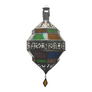 Handcrafted Moroccan Metal and Multi-Color Glass Lantern Octagonal Diamond Shape For Sale